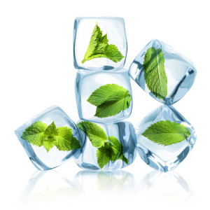 Ice cubes with green mint leaves